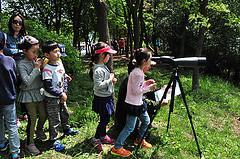 Children watching waterbirds