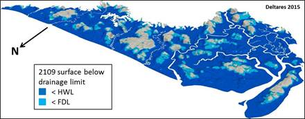 Three-dimensional Digital Terrain Model of the Rajang delta in 2009 and 2109    with the surface below drainage limited projected in blue. © Wetlands International 2014