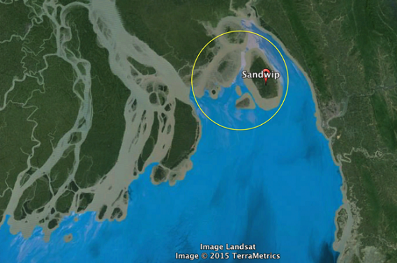 Several sites were found important for shorebirds within the yellow circle.